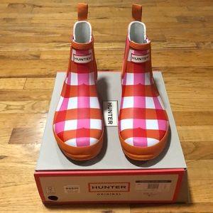 Original HUNTER Short Gingham Boots Sz 10